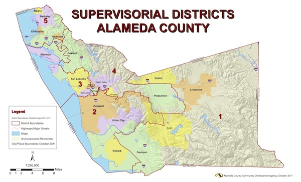 Board of Supervisors District Map of Alameda County