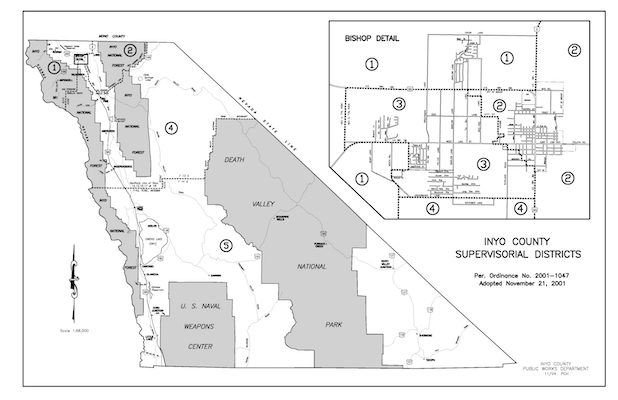 Board of Supervisors District Map of Inyo County