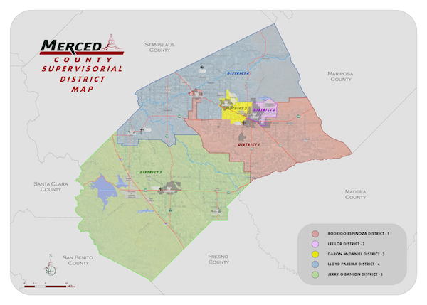 Board of Supervisors District Map of Merced County