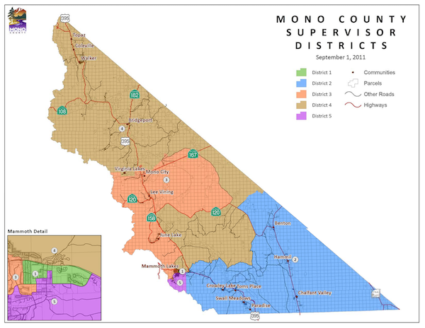 Board of Supervisors District Map of Mono County