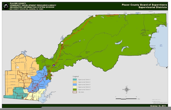 Board of Supervisors District Map of Placer County