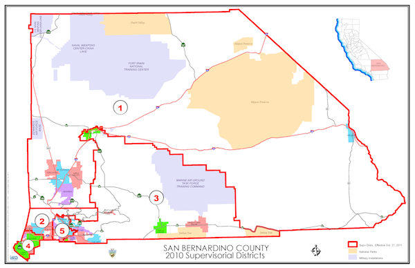 Board of Supervisors District Map of San Bernardino County