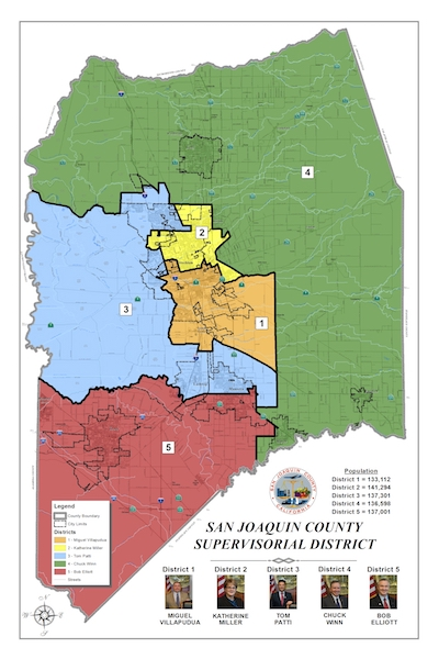 Board of Supervisors District Map of San Joaquin County