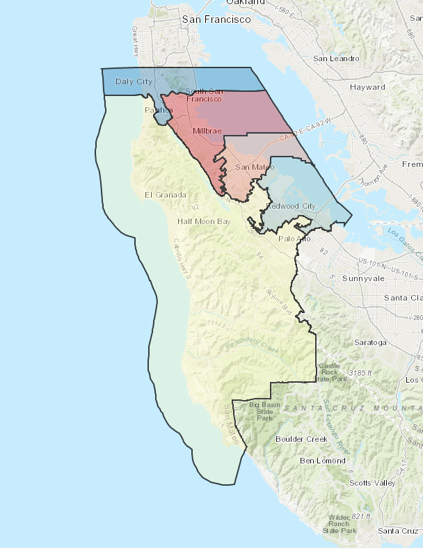 Board of Supervisors District Map of San Mateo County