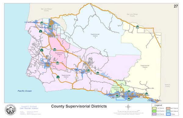 Board of Supervisors District Map of Santa Barbara County