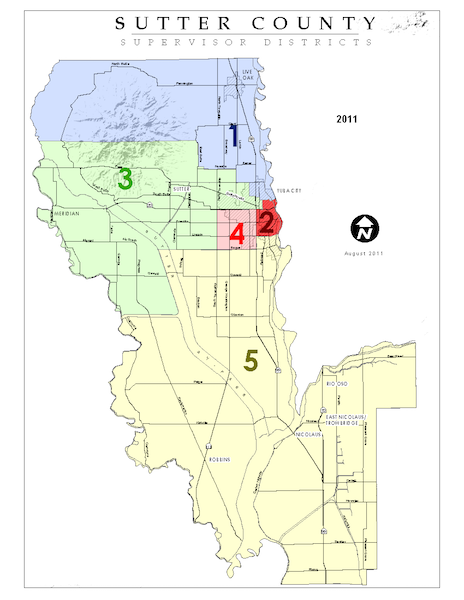 Board of Supervisors District Map of Sutter County