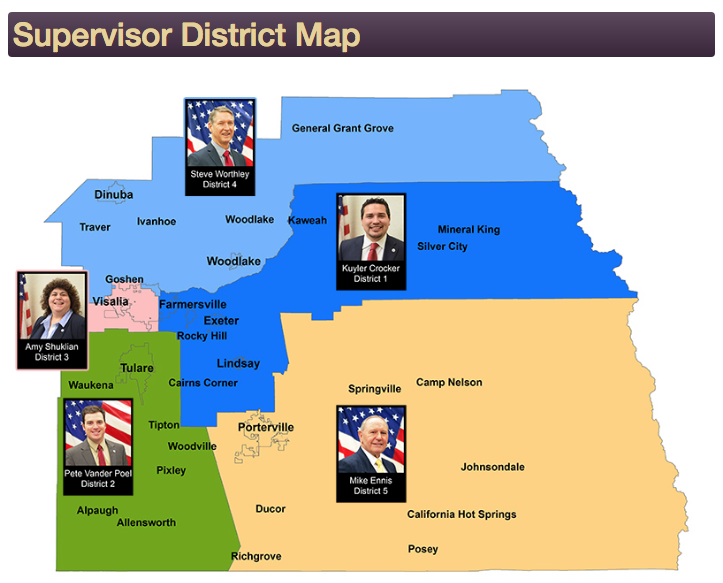 Board of Supervisors District Map of Tulare County