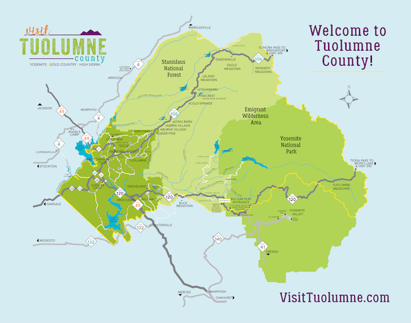 Board of Supervisors District Map of Tuolumne County