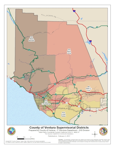 Board of Supervisors District Map of Ventura County