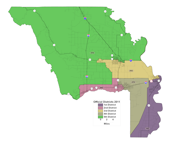 Board of Supervisors District Map of Yolo County