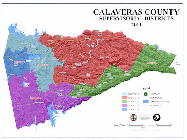 Board of Supervisors District Map of Calaveras County