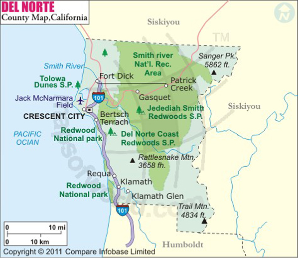 Board of Supervisors District Map of Del Norte County