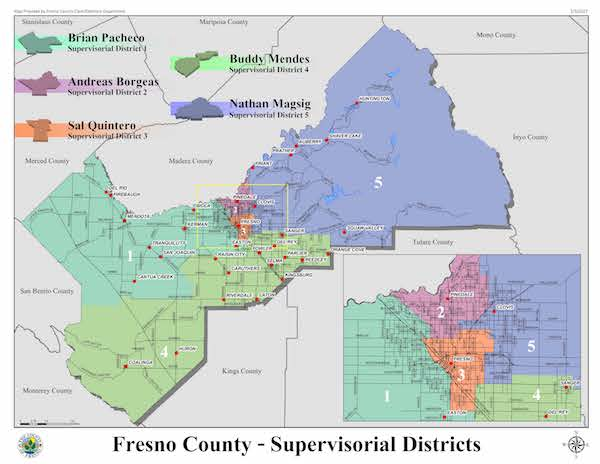 Board of Supervisors District Map of Fresno County