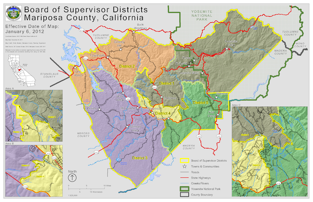 Board of Supervisors District Map of Mariposa County