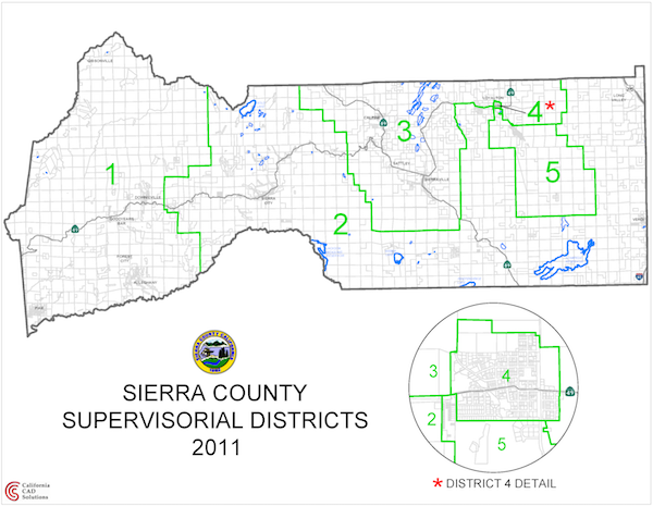 Board of Supervisors District Map of Sierra County