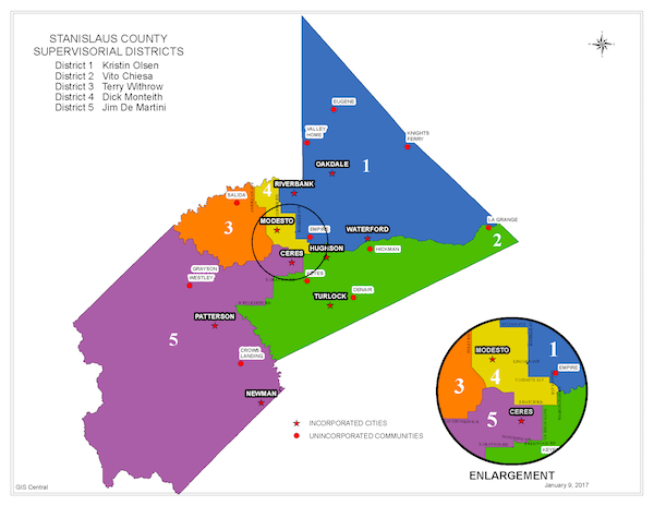 Board of Supervisors District Map of Stanislaus County
